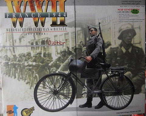 "Dragon 1/6 12"" WWII France 1944 Wehrmacht Infantryman w/ Bicycle Dieter Action Figure"
