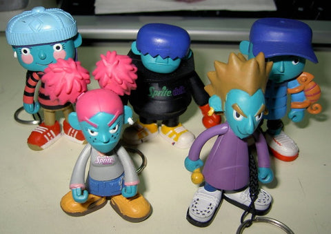 "2001 Eric So Fun Sprite Soul Twin Boy Girl Scream Subsonic MC 5 Keychain 2"" Vinyl Figure Set - Lavits Figure"