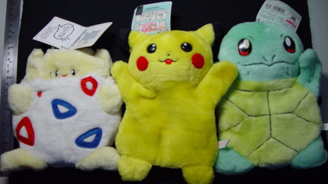 Tomy Pokemon Pocket Monster 3 Hand Puppet Plush Doll Figure Set Pikachu Squirtle Togepi
