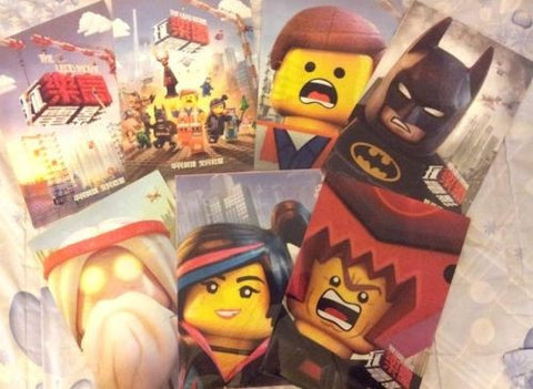 2014 The Lego Movie Promo 7 Folder Set 2 Poster + 5 Character Ver. Will Ferrell - Lavits Figure