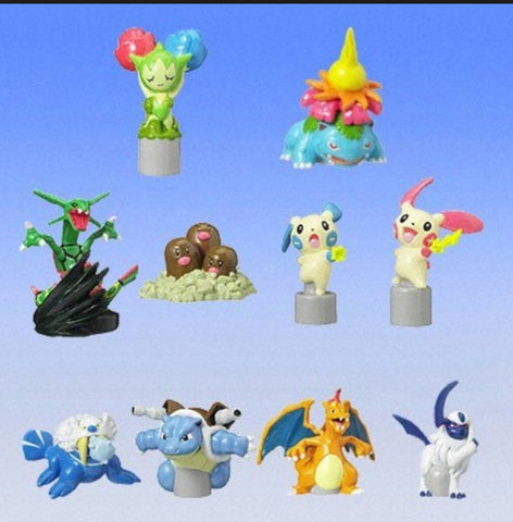 Bandai Pokemon Pocket Monsters Gashapon わざコレ Collection 01 10 Pencil Topper Figure Set