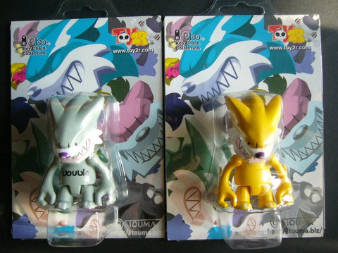 "Toy2R 2004 Touma Fang Wolf Qee Yellow & Double Grey Ver 2 2.5"" Vinyl Figure Set"