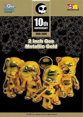 "Toy2R Qee 10th Anniversary Metallics Gold Golden 2"" Toyer Cat Bear Dog Figure - Lavits Figure"