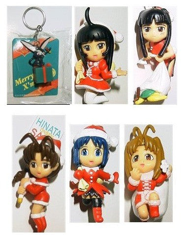 Love Hina Christmas Xmas 6 Mascot Key Chain Holder Trading Figure Set - Lavits Figure