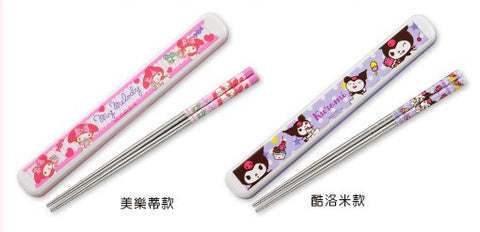 Sanrio Hi-Life Limited My Melody Kuromi 2 304 Stainless Steel Chopsticks Set - Lavits Figure  - 1