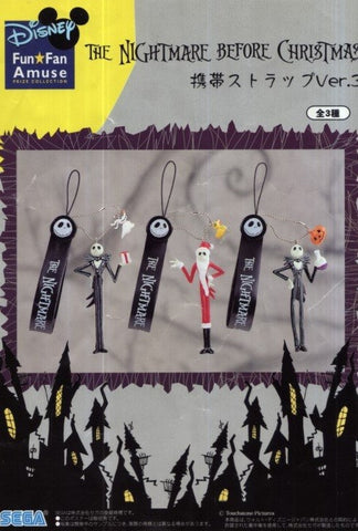 Sega Disney Characters Fun Fan Amuse The Nightmare Before Christmas Phone Strap Part 3 3 Figure Set - Lavits Figure