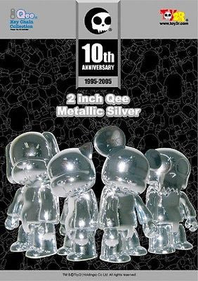 "Toy2R Qee 10th Anniversary Metallics Silver 2"" Toyer Cat Bear Dog Figure - Lavits Figure"