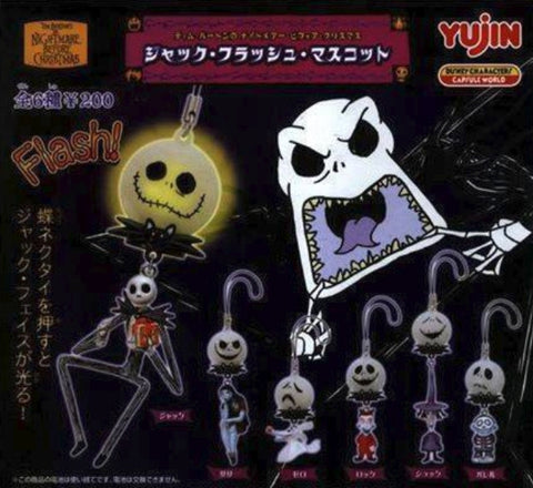 Yujin Disney Tim Burton The Nightmare Before Christmas Gashapon Lightening Mascot Strap 6 Collection Figure Set