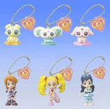 Bandai Pretty Cure Max Heart Gashapon Black White Luminous Nagisa 6 Mascot Strap Figure Set