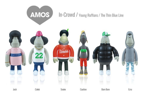 "Amos Toys James Jarvis In-Crowd Young Ruffians 6 4"" Vinyl Figure Set Used"