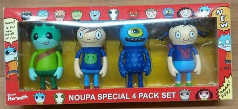 "2004 David Horvath Flying Cat Noupa Special 4 Pack 3"" Vinyl Figure Set Hero Noupa Maker D Made Man Maker S"