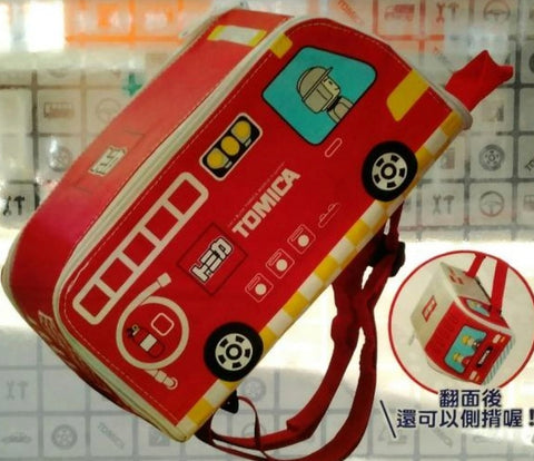 "Tomica Taiwan Hi-Life Limited 10""x6""x5"" Fire Engines Double Sided Backpack For Kids"