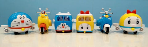 Doraemon Magic Props Taiwan 7-11 Limited 6 Mini Pullback Car Collection Figure Set