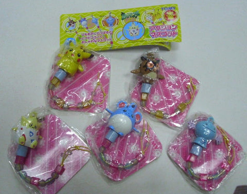 Tomy Pokemon Pocket Monster Gashapon 5 Mascot Strap Collection Figure Set