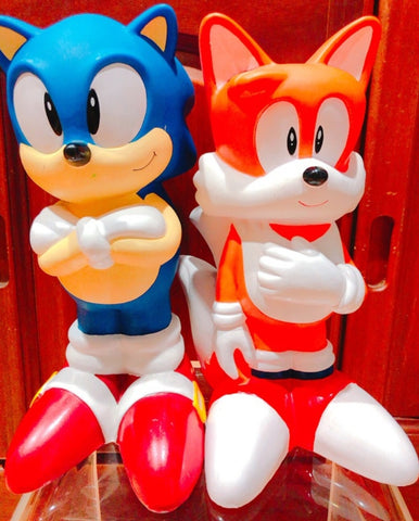 "Sega 1991 1992 Sonic Adventure The Hedgehog Tails 2 12"" Soft Vinyl Coin Bank Trading Figure Set Used"