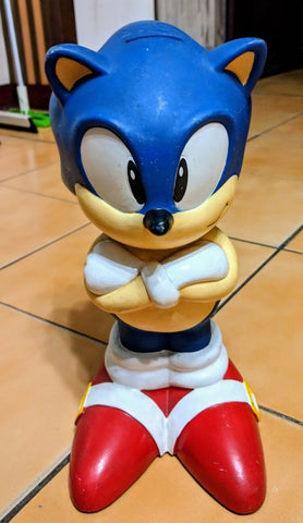 "Sega 1991 Sonic Adventure The Hedgehog 12"" Soft Vinyl Coin Bank Trading Figure Used Lose"