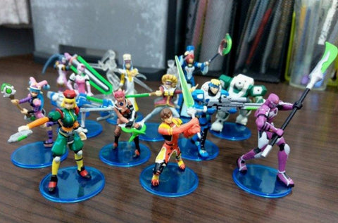 Yujin Phantasy Star Online PSO Gashapon Episode I&II 12 Mini Trading Figure Set Used