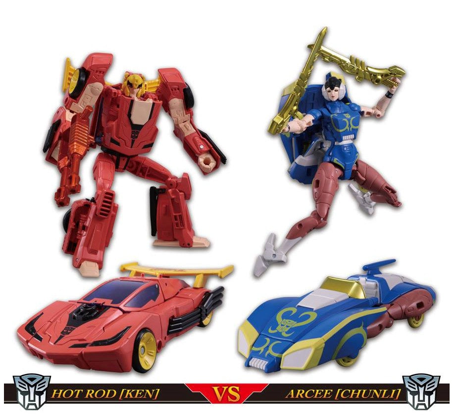 Takara Street Fighter X Transformers Ken Hot Rodimus Chun Li Arcee