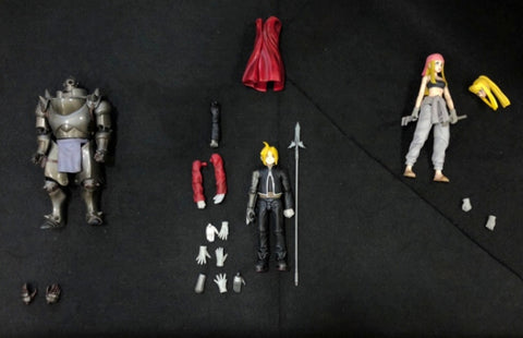 Square Enix Fullmetal Alchemist Play Arts 3 Action Figure Set Used