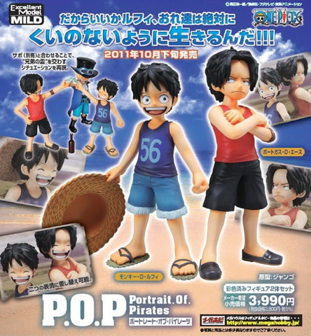 Megahouse 1/8 One Piece POP Luffy & Ace Child ver Pvc Figure