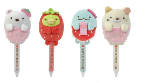 San-X Sumikko Gurashi Taiwan 7-11 Limited Strawberry Season 4 Plush Doll Pen Figure Set