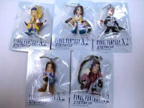 Bandai Final Fantasy X-2 5 Strap Swing Key Chain Holder Trading Figure Set