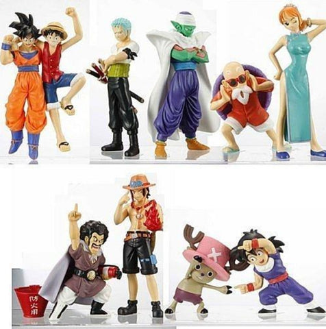Bandai 40th Weekly Jump Dragon Ball Z DBZ x One Piece Part 1 & Part 2 10 Trading Figure Set