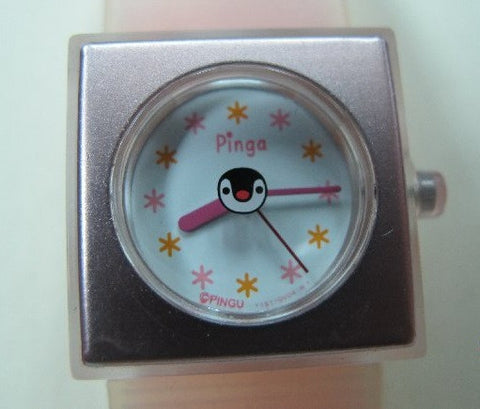 Authentic Japan Pingu Penguin Pinga Pink Metal Plastic Watch Free Shipping - Lavits Figure  - 1