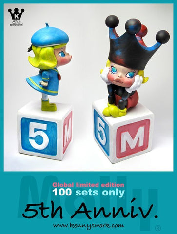 "Kenny's Work 2011 Kenny Wong Molly 5th Anniversary Mickey Mouse & Donald Duck Ceramic 10"" Figure Set - Lavits Figure"