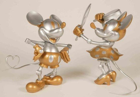 Medicom Toy VCD Vinyl Collectible Dolls Disney Hajime Sorayama Future Mickey & Minnie Mouse Figure Used