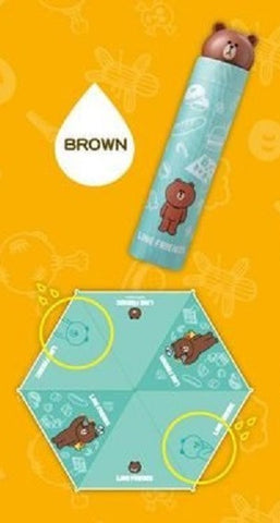 App Line Friends Character Brown Bear Water Color Changed Umbrella - Lavits Figure