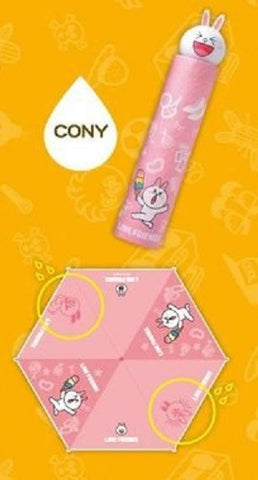 App Line Friends Character Cony Bunny Rabbit Water Color Changed Umbrella - Lavits Figure