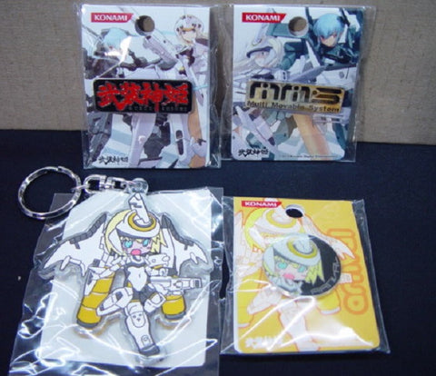 Konami MMS Busou Shinki 4 Metal Plastci Key Chain Patch Pin Set - Lavits Figure  - 1