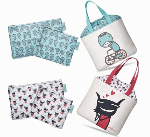 "Aranzi Aronzo 14""x8"" Double Sided 2 Tote Bag 4 Cosmetic Purse Set - Lavits Figure  - 1"