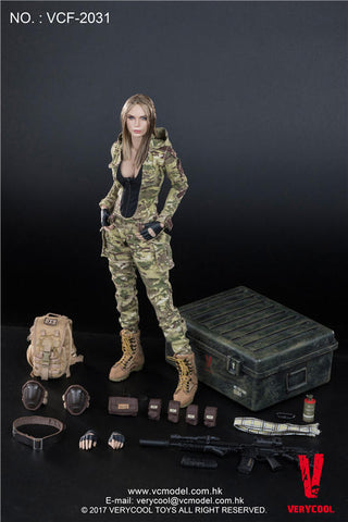 "Verycool 1/6 12"" VCF-2031 MC Camouflage Women Soldier Villa Action Figure"