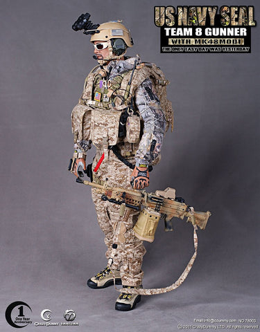 "Crazy Dummy 1/6 12"" 78003 US Navy Seal Team 8 Gunner With MK48MOD1 Action Figure - Lavits Figure  - 1"