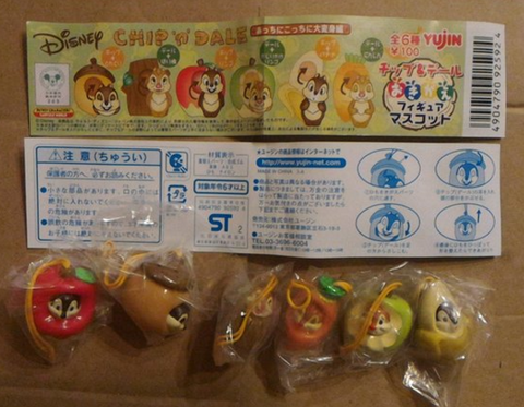 Yujin Disney Characters Gashapon Chip N Dale Fruit Changing 6 Mascot Strap Figure Set - Lavits Figure