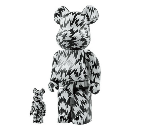 "Medicom Toy 2008 Be@rbrick 400% 100% Eley Kishimoto Black & White Ver 11"" Vinyl Collection Figure - Lavits Figure"
