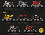Ducati 1/24 Taiwan 7-11 Limited 8 Mini Die Cast Motorcycle Trading Figure Set - Lavits Figure