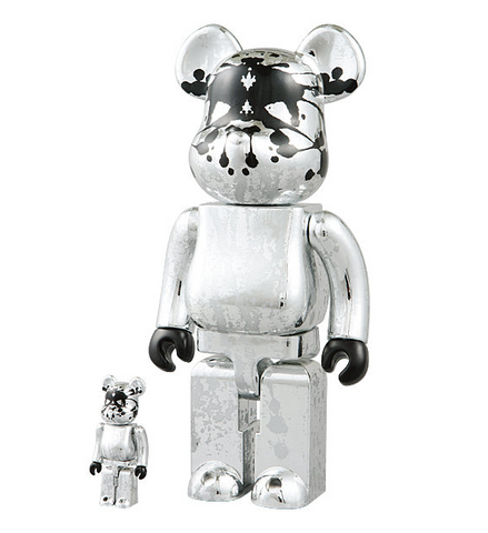 "Medicom Toy 2005 Be@rbrick 400% 100% Pushead Psyche Bandit Silver Ver 11"" Vinyl Collection Figure - Lavits Figure  - 1"