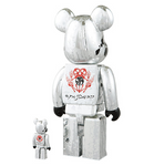 "Medicom Toy 2005 Be@rbrick 400% 100% Pushead Psyche Bandit Silver Ver 11"" Vinyl Collection Figure - Lavits Figure  - 2"