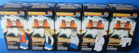 "Medicom Toy Kubrick 100% Back To The Future 5 3"" Vinyl Figure Set Jennifer Marty Doc Einstein Biff - Lavits Figure"