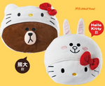 "7-11 Limited Sanrio Hello Kitty x Line Friends Plush Doll 2 14"" Kitty & Brown Figure Set - Lavits Figure"