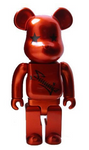 "Medicom Toy 2002 Be@rbrick 400% Fumiya Fujii Metallic Red Ver 11"" Vinyl Collection Figure - Lavits Figure"