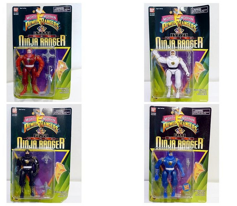 Bandai Power Rangers Ninja Sentai Kakuranger 4 Ranger Fighter Action Figure Set - Lavits Figure