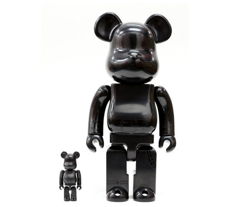 "Medicom Toy Be@rbrick 400% 100% Skull All Black Ver 11"" Vinyl Collection Figure - Lavits Figure  - 1"