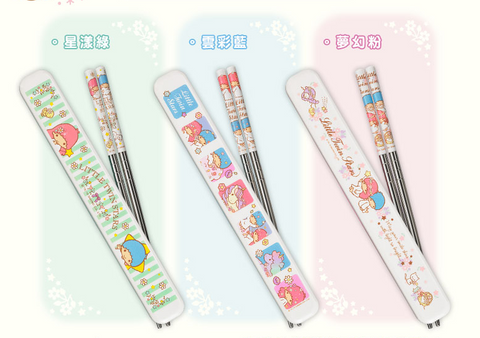 Sanrio Hi Life Mart Limited Little Twin Star Kiki & Lala 3 Chopsticks Set - Lavits Figure