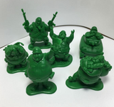 Takara Tomy Panda's Ana Gashapon Fat Cute Green Soldiers Part 2 6 Mini Collection Figure Set - Lavits Figure  - 2