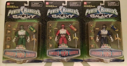 Bandai Power Rangers Lost Galaxy Gingaman Armored Red Green Blue 3 Action Figure Set - Lavits Figure