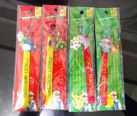 Lot of 4 Nintendo 1998 Pokemon Pocket Monster Twin Mascot Phone Strap Figure Set
